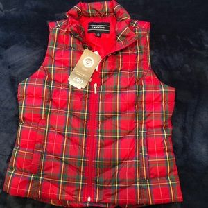 Lands' End plaid puffer down vest